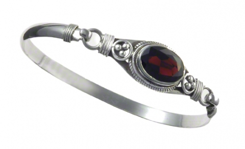 Garnet hook and latch bracelet
