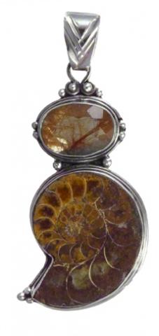 Rutile Quartz and Ammonite Pendant
