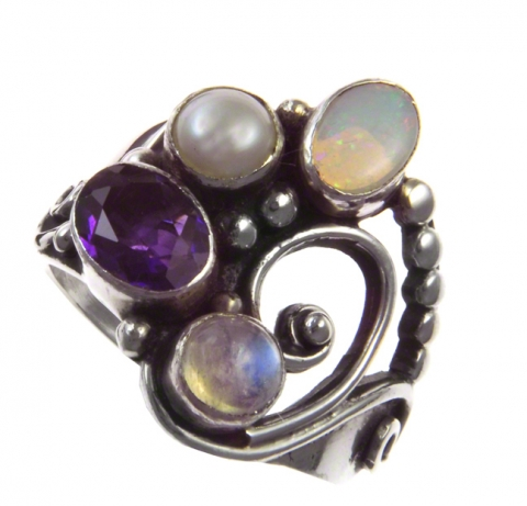 Opal, Pearls, Amethyst, Moonstone Ring