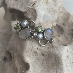 Unique 3 Gemstone Earring