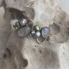 Unique 3 Gemstone Earring
