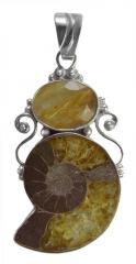 Rutile Quartz and Ammonite Pendant